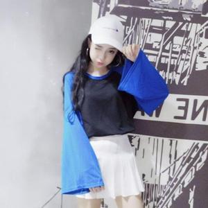 韩版新款原宿日系女装ins闺蜜宽松印花情侣装宽松喇叭袖长袖t恤女
