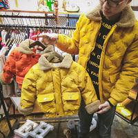 亲子装儿童冬装2017新款全家装母女母子棉衣一家三口加厚外套夹克