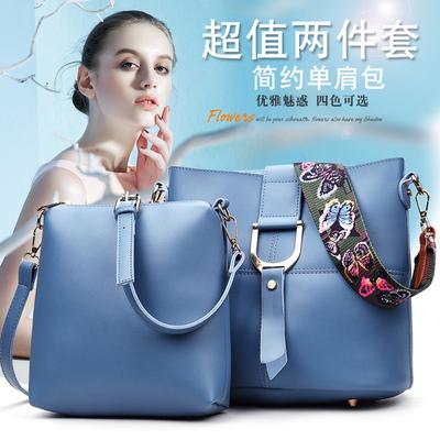 水桶包包2016新款单肩斜挎手提子母包购物袋软皮韩国简约大挎包女