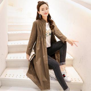 中长款薄风衣2019秋季新款女装韩版时尚长袖纯色气质春秋单外套潮