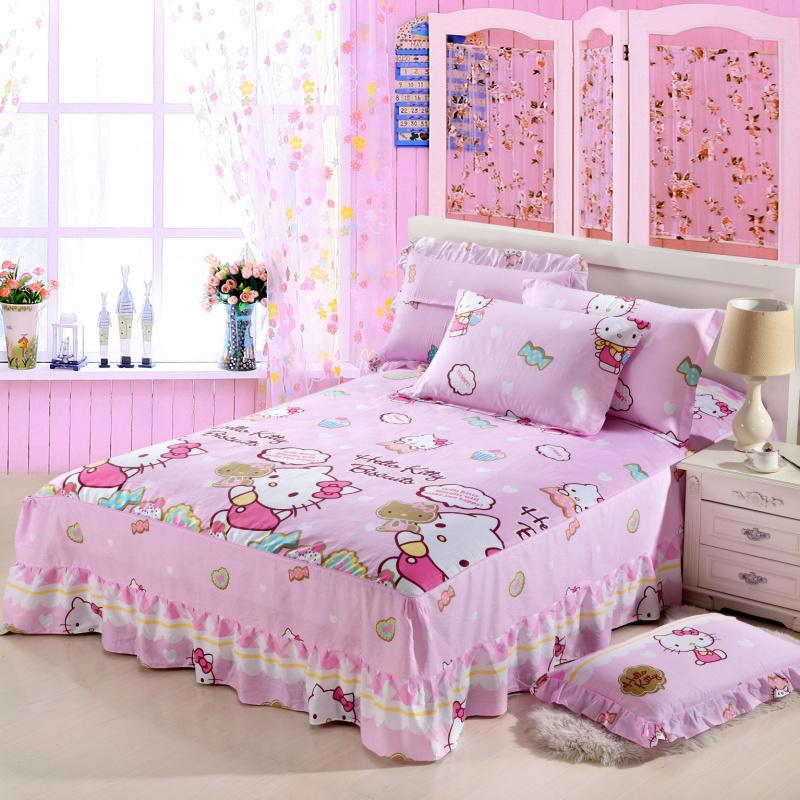 全棉卡通儿童床裙床笠纯棉床罩单件被套1.2/1.5/1.8米四件套清仓