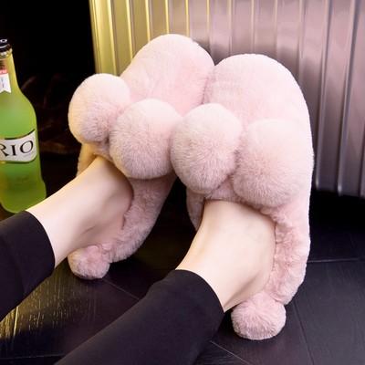冬季棉拖鞋女卡通可爱毛毛绒公主室内居家家用包跟厚底保暖月子鞋