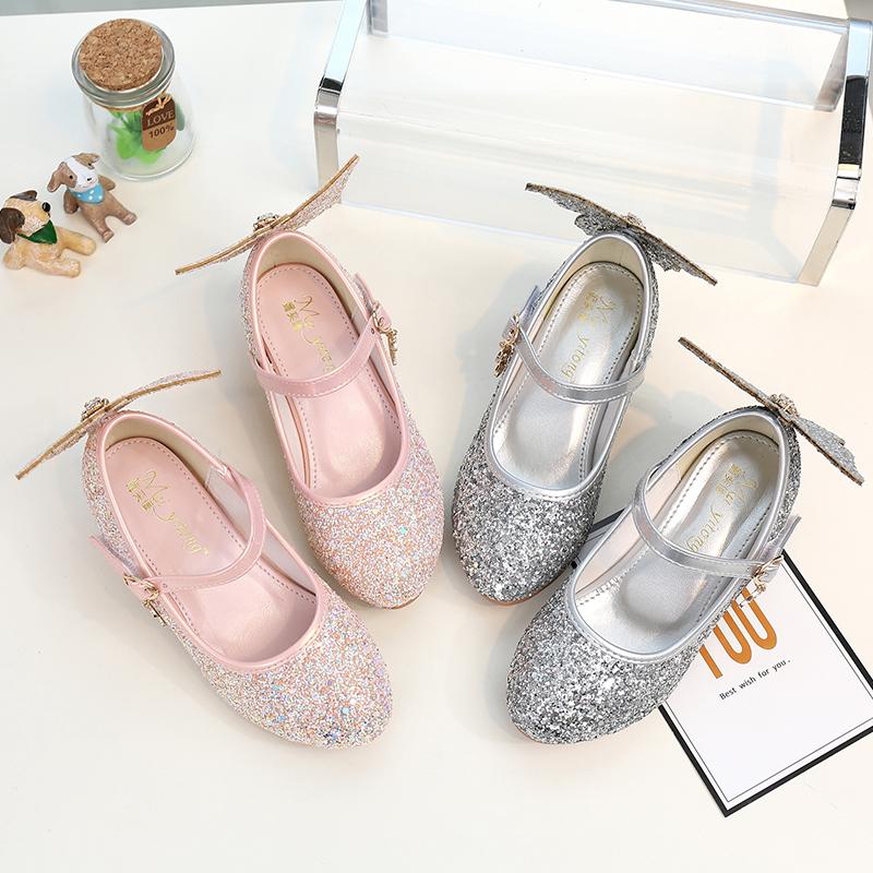 儿童小公主鞋高跟鞋走秀女童水晶鞋皮鞋2019新款夏软底灰姑娘演出