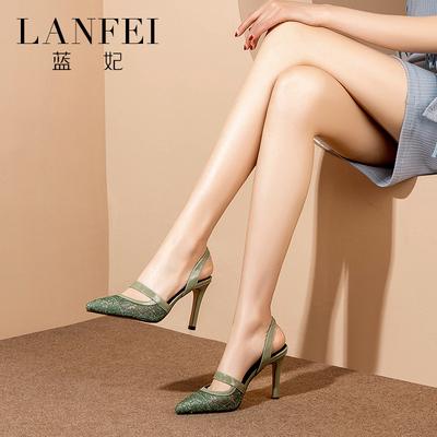 蓝妃高跟鞋2019新款夏季涼鞋女尖头包头后空性感时尚网纱细跟女鞋