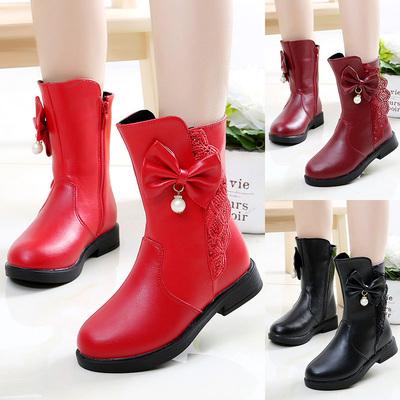 女童雪地靴2018新款3-12岁冬季防水4加绒加厚棉鞋5中大童公主靴子