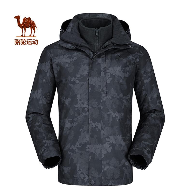 骆驼户外情侣款登山服 男冬季时尚防风防水保暖印花冲锋衣女 外套