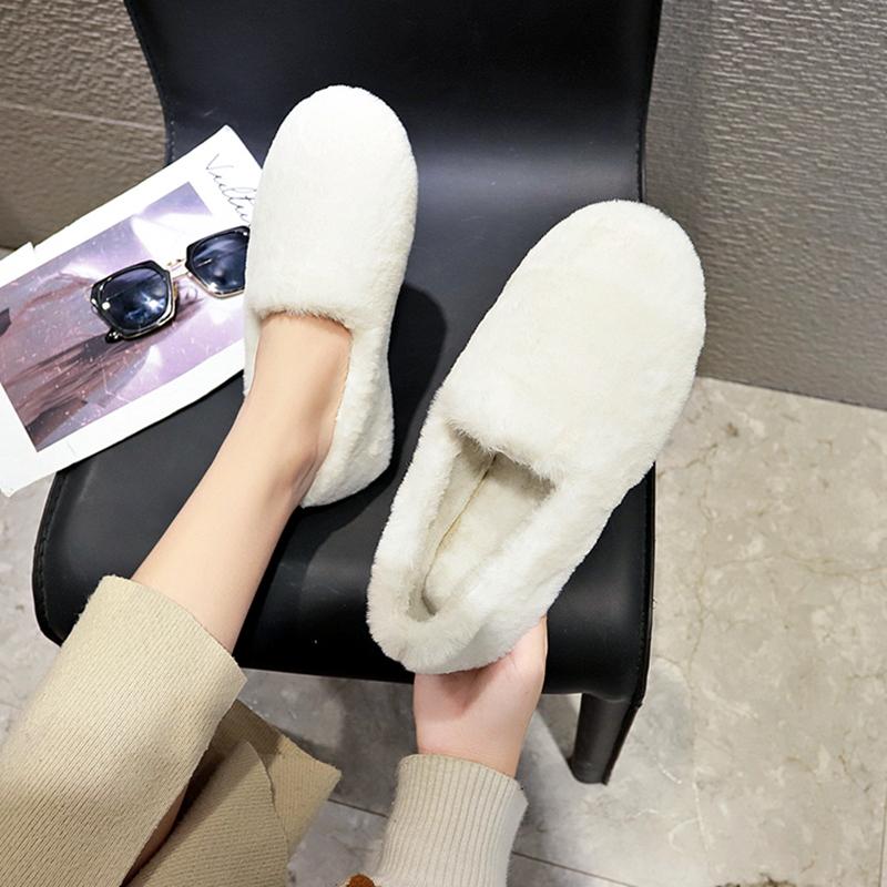网红平底单鞋女懒人豆豆鞋加绒棉瓢鞋毛毛鞋白色2018秋冬新款外穿