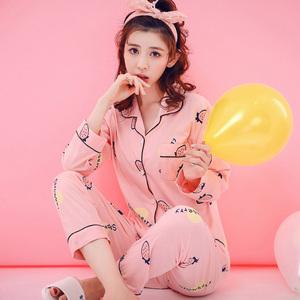 草莓睡衣女春秋夏季长袖纯棉薄款韩版清新学生甜美全棉家居服套装