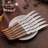Western steak fork piece wooden handle household cutlery set 304 grade stainless steel tableware Laguiole