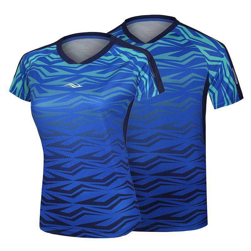 Bonny波力运动圆领T恤羽毛球运动服精点小孔面料吸湿排汗男女服