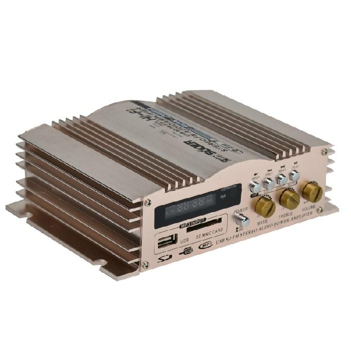 插卡带收音机双USB充电 两路600W高级汽车音响放大器12V车载功放