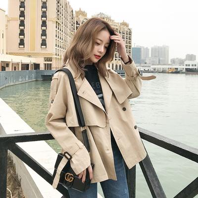 2018春装新款韩版宽松女士短款学生薄款chic小个子风衣外套女春秋
