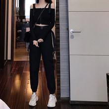 女2019新款 春装 高腰口袋嘻哈宽松束脚工装 背带露腰T恤女两件套