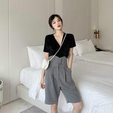 夏季套装 显腿长高腰显瘦休闲裤 女2019新款 短袖 丝绒薄款 t恤上衣图片
