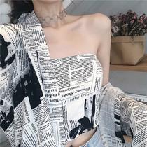 韩国衬衣女2019新款Chic复古报纸印花防晒长袖衬衫抹胸两件套上衣