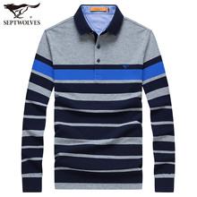 七匹狼翻领条纹长袖 青年男商务休闲纯棉POLO衫 男装 秋季新款 T恤