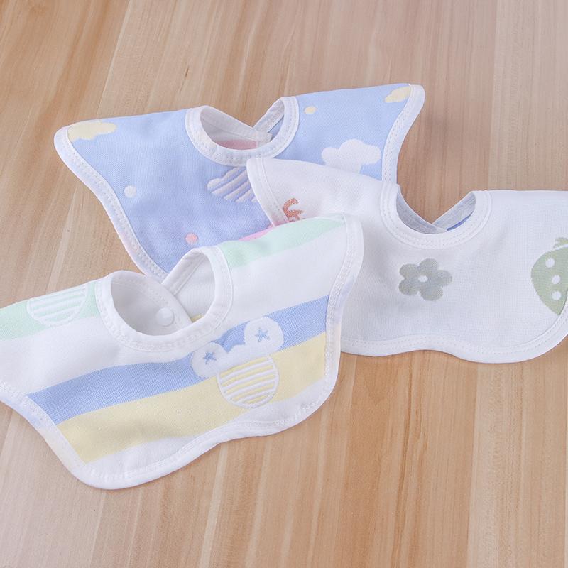 宝宝口水巾纯棉纱布婴儿360度旋转防吐奶围嘴巾口水斤可旋转围兜