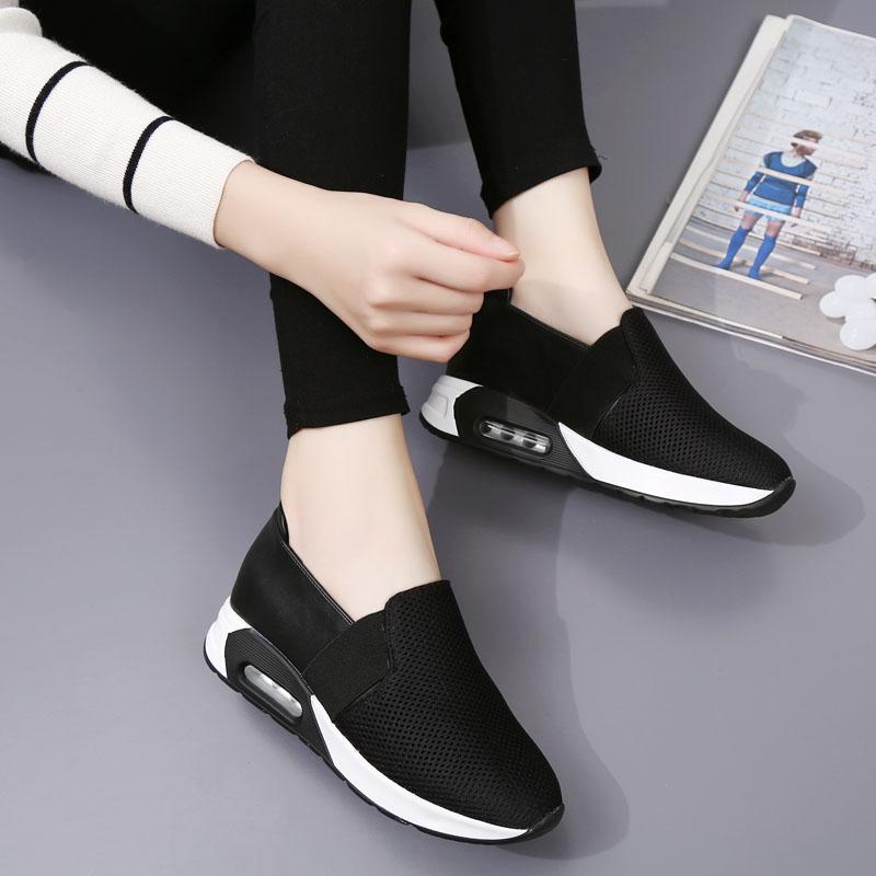 厚底黑白网跑鞋