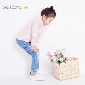 Q棉叔叔2018春装新款女童纯棉娃娃领衬衣 儿童牛津纺衬衫女长袖