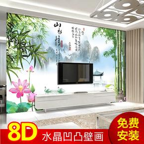 优朵 3/5/8D大型水晶壁画 电视沙发卧室背景墙纸墙布  中式山水情
