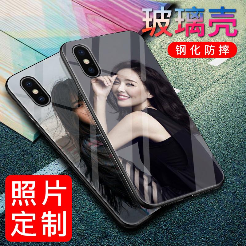 苹果x手机壳定制iphone7plus私人diy照片xs max情侣6splus玻璃壳任意机型xs定做女个性创意xr自制8plus滴胶