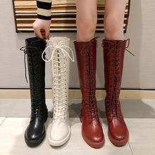 高筒骑士靴过膝长靴女粗跟网红瘦瘦靴子中跟 马丁靴女2019秋冬新款图片