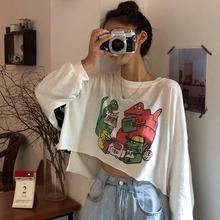 薄款 宽松短款 防晒衫 印花白色T恤长袖 韩版 上衣ins潮 女夏装 2019新款图片