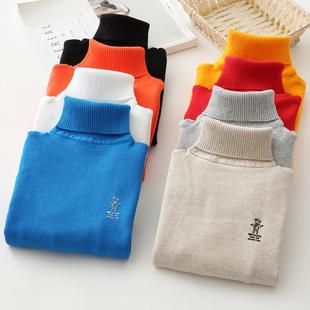 儿童毛衣男童女童秋冬款加绒加厚针织打底衫棉套头高领宝宝毛线衣