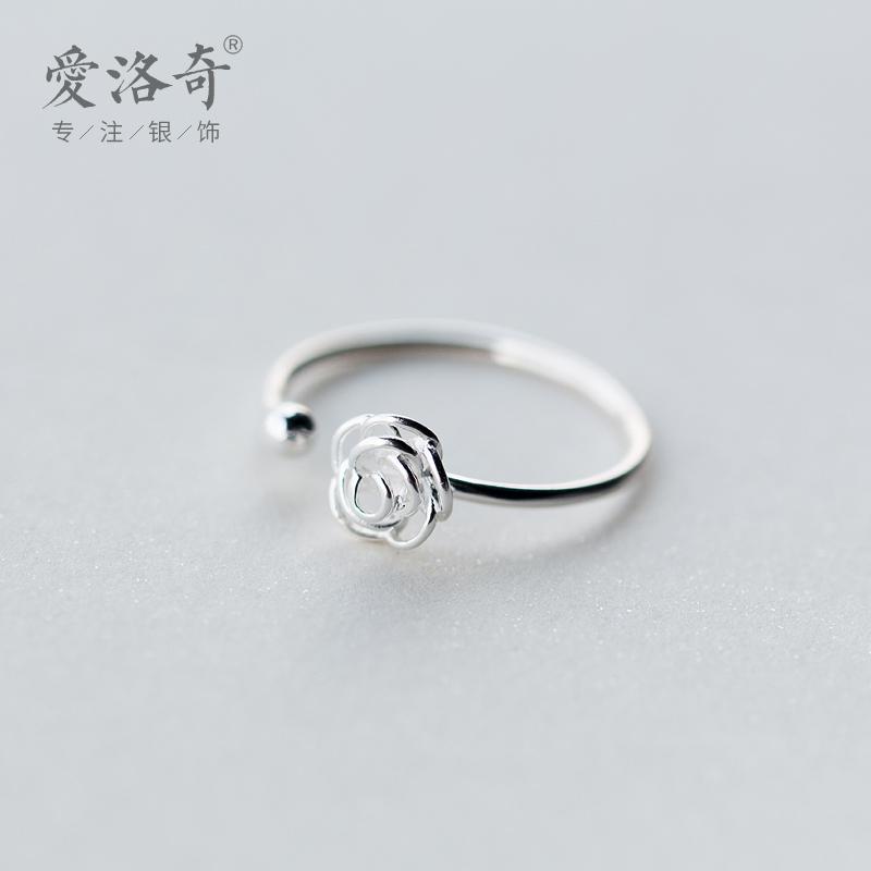 爱洛奇 925银戒指女韩版森系甜美玫瑰花戒指指环简约气质花朵戒指