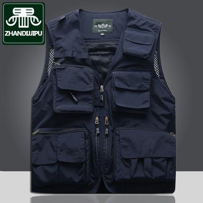 马甲男士春夏薄款背心中老年多兜口袋钓鱼记者摄影师定制logo外套