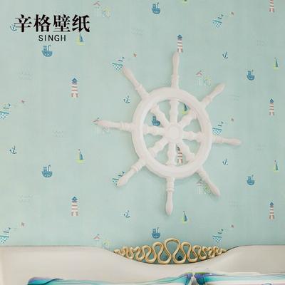 辛格墙纸 儿童房壁纸 卡通卧室温馨宜家无纺布韩式航海可爱小男孩