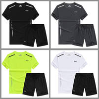 Sports suit men's summer casual two-piece fitness clothes basketball clothes running quick-drying clothes loose round neck short sleeve