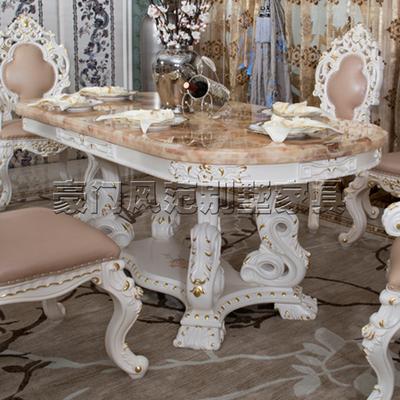 法式描金做旧全实木餐桌欧式大理石餐桌椅美式红龙玉实木餐桌定制