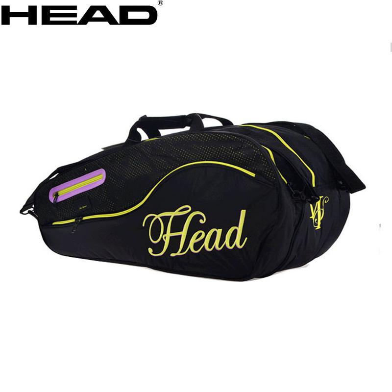 海德HEAD 莎拉波娃 6支装网球包 双肩 女生网球包 黑色大空间