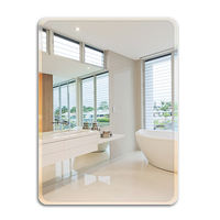 Bathroom mirror free punch frameless bathroom mirror bathroom mirror wall mirror paste makeup mirror European style
