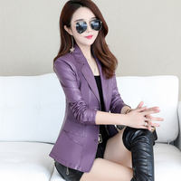 2019 new Haining leather leather female short locomotive sheep skin Korean version of the slim slimming small suit leather jacket
