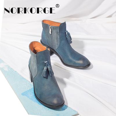 原创手工蓝色短靴女靴真皮粗跟中跟流苏圆头切尔西靴侧拉链马丁靴
