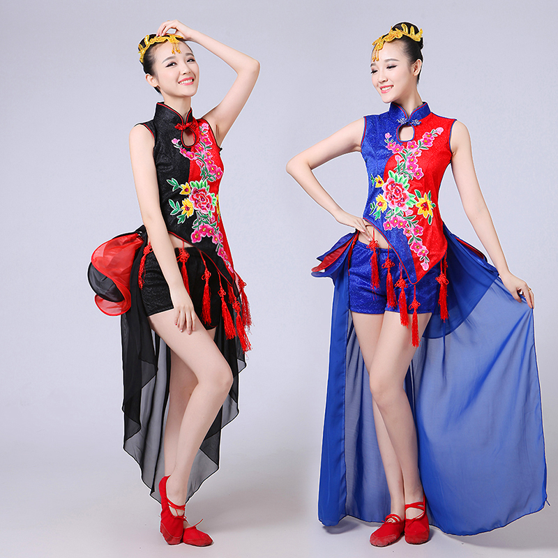 classical dance modern dance costumes Chinese ethnic fan dance fashion cheongsam