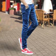 潮流黑色直筒长裤 小脚裤 牛仔裤 弹力男士 男休闲修身 韩版 夏季薄款
