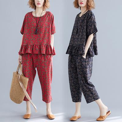大码女装微胖女人遮肚显瘦套装夏季新品七分裤花色麻棉休闲两件套