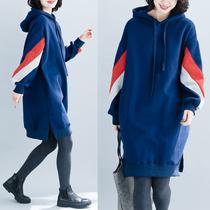 减龄女装胖mm大码卫衣中长款秋冬洋气减龄加绒加厚连帽连衣裙显瘦