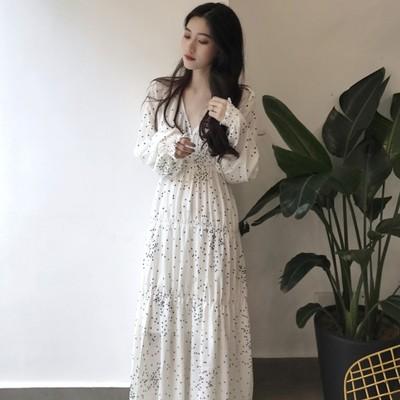 2018秋装新款宽松长袖V领波点A字裙收腰大摆泡泡袖长款连衣裙女装