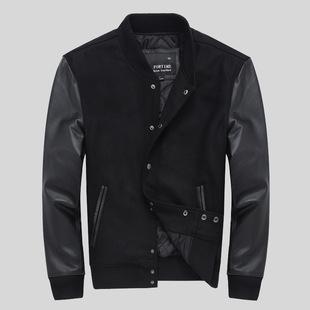2017新款牛皮袖子羊毛呢拼接休闲外套真皮皮衣男式立领棒球服