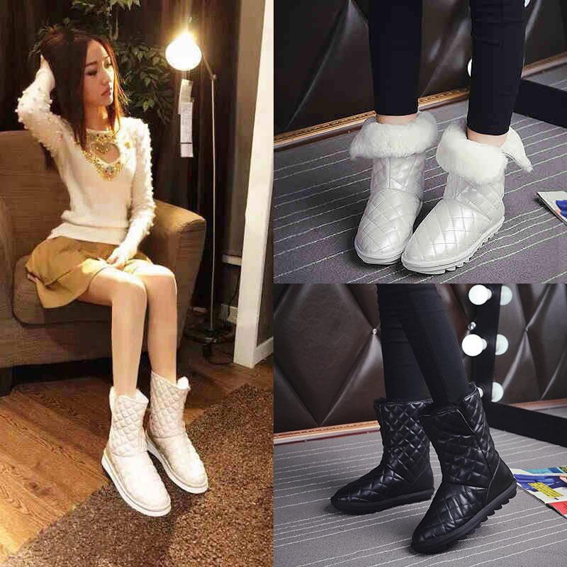 白色毛雪地靴