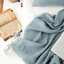 北欧针织流苏搭毯搭巾盖毯沙发巾床尾毯酒店披毯样板间房毛毯子