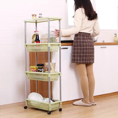 可移动厨房夹缝置物架带轮塑料缝隙整理架落地窄浴室冰箱旁收纳架
