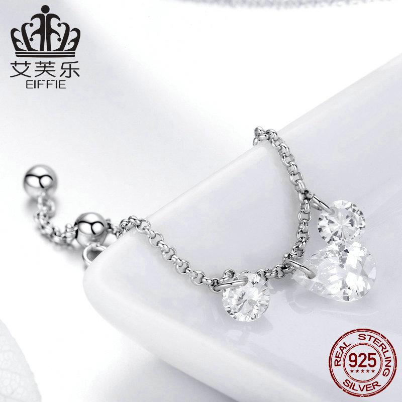 轻奢 大气 S925纯银可调节女士指环欧美风简约时尚镶锆石银戒指