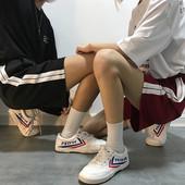ins五分裤女宽松bf学生hiphop情侣裤子韩版嘻哈串标运动短裤春夏