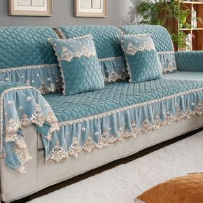 欧式毛绒沙发垫子坐垫四季通用全包沙发套巾罩防滑布艺靠背巾冬季