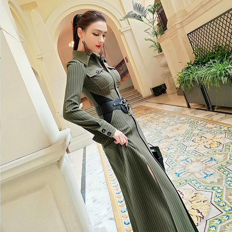 欧洲站条纹长裙